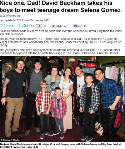 David Beckham si-a dus baietii sa o cunoasca pe Selena Gomez