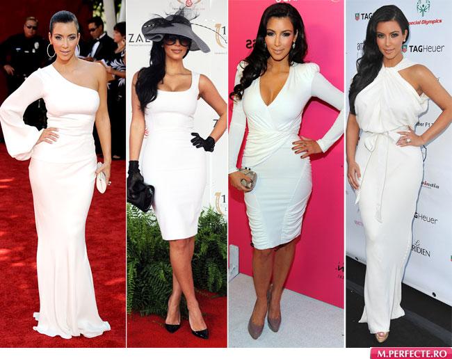 Stil de vedeta: Kim Kardashian, innebunita dupa rochiile albe. Cum crezi ca va arata rochia ei de mireasa?