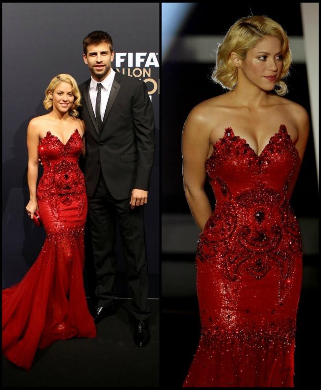 Look-ul zilei: Shakira, eleganta si gratioasa pe covorul rosu la Gala FIFA, alaturi de iubitul ei