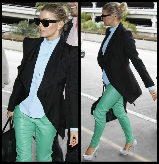 Look-ul zilei: Fergie face alegeri vestimentare curajoase - arata magnific in pantaloni de piele verzi!