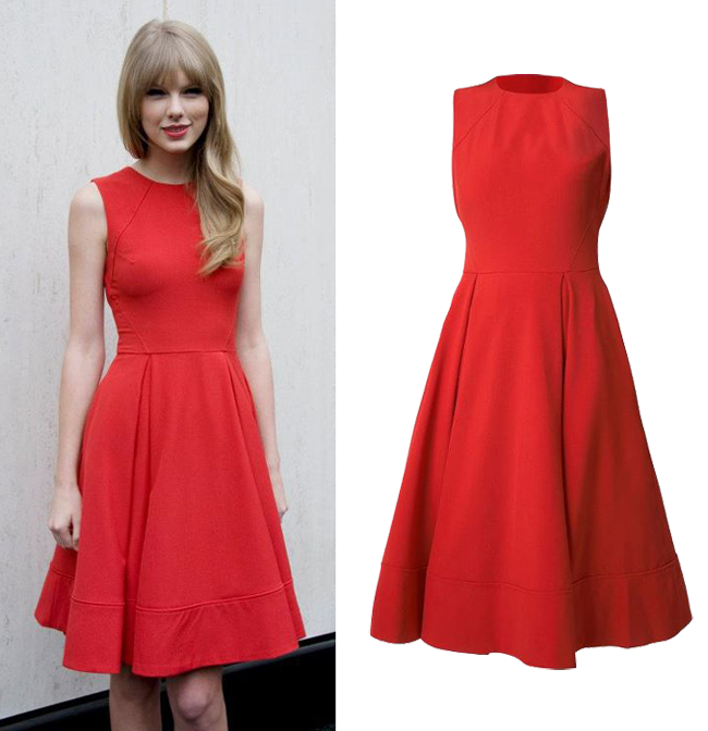 Outfit de vedeta: Taylor Swift, intr-o rochie rosie Asos.com. Vezi cat costa