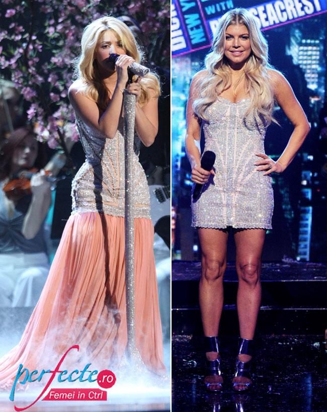 Aceeasi rochie, look-uri diferite. Iti place creativitatea Shakirei sau simplitatea lui Fergie?