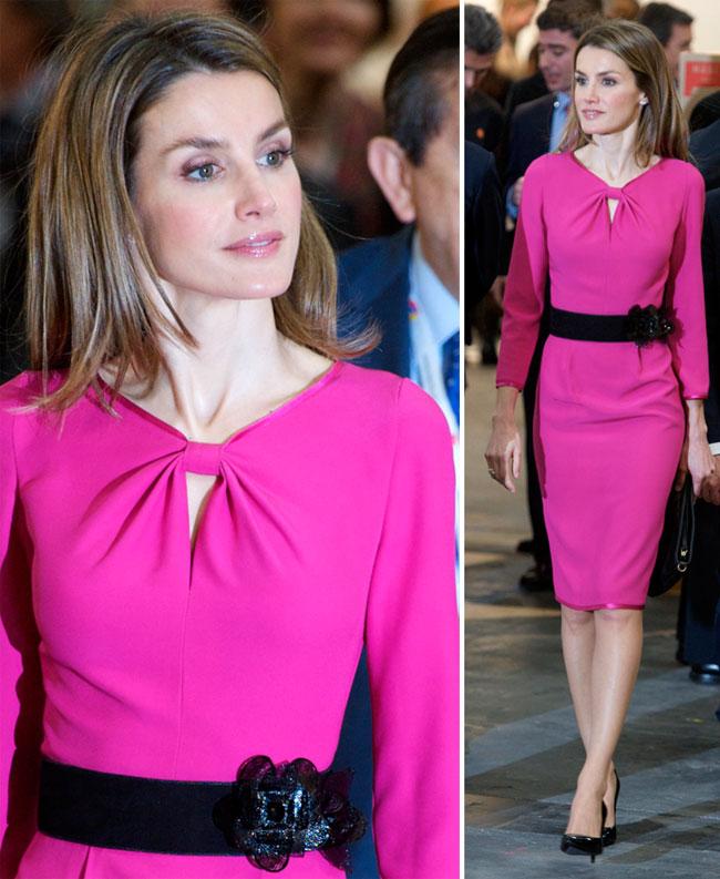 Look-ul zilei: Printesa Letizia a Spaniei, superba intr-o rochie fuchsia