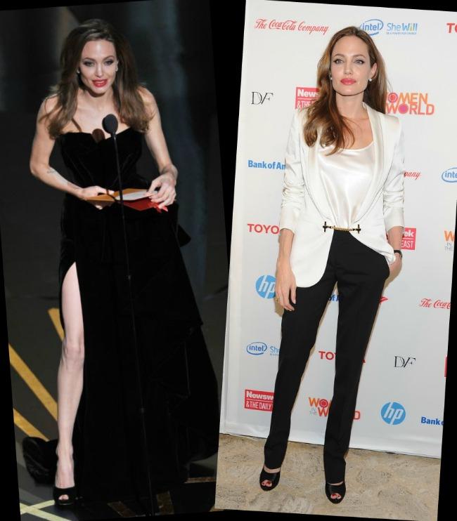 Dupa ironiile de la Oscar, Angelina nu mai are curajul sa isi arate picioarele. Negrul o face sa para si mai slaba