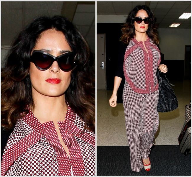 FASHION POLICE: Salma Hayek, in pijamale la aeroport. Iti place look-ul ei?