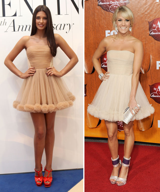 Antonia vs. Carrie Underwood: care din ele e mai sexy in rochia Maria Lucia Hohan?